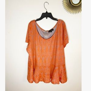 NWT Eloquii Rust Orange and Tan Blouse-Sz 24